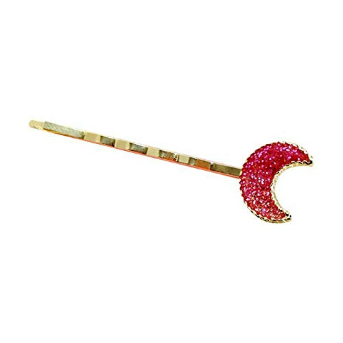 Girl Metallic One Word Hair Clips Gradient Colored Glitter Sequins Anime Hairpin (Color - 6# Pink Moon) ()