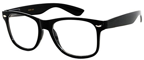 Style Clear Lens - Classic Vintage Sunglasses 80's Style with Clear Lens Black Frame