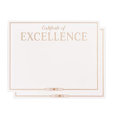 Certificate Papers - 48-Pack Certificate of Excellence Award Certificates for Student, Teacher, Employees, 180GSM, Gold Foil Print Border, Laser Printer Friendly, 8.5 x 11 Inches