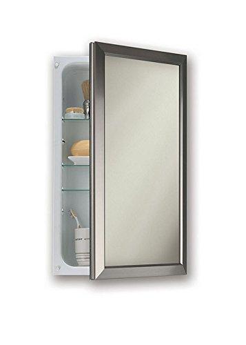 Jensen 625N244SNCX Satin Nickel Frame Medicine Cabinet, 15.75