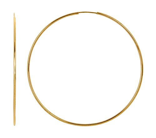 Extra Large 14k Yellow Gold Continuous Endless Hoop Earrings, 1.25mm Tube ()