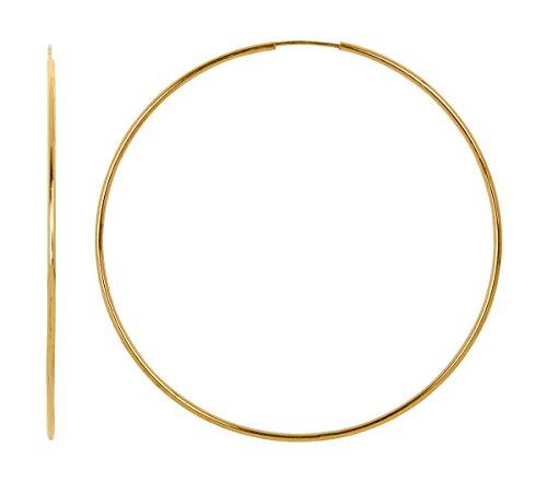 14k Yellow Gold Continuous Endless Hoop Earrings, 1.25mm Tube (Jumbo Gold Hoop Earrings)