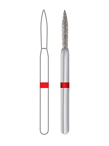 Dentsply 1862010F Midwest Once Diamond Bur, Flame, Friction Grip, Fine, 1.0 mm Diameter, 8.0 mm Length (Pack of 25)
