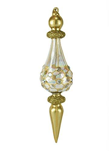 Raz 9.25'' Arabian Inspired Gold Glass Finial Christmas Ornament w/Jeweled Teardrop by Raz