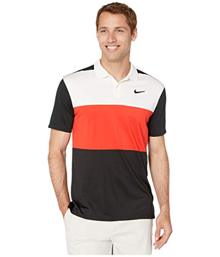 (NIKE Dri Fit Vapor CB Golf Polo 2019 Sail/Habanero Red/Black X-Large)