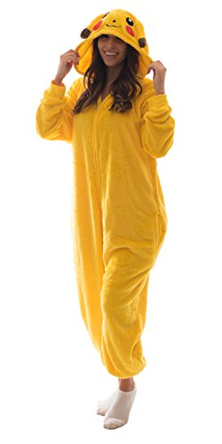 Adult Onesie Pikachu Animal Pajamas Comfortable Costume with Zipper and Pockets (Large)