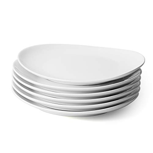 Sweese 150.001 Porcelain Dinner Plates - 11 Inch - Set of 6, White (Plates Square Porcelain)