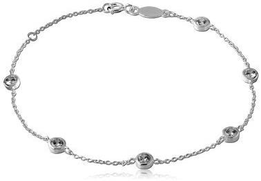 Dainty Bracelet for Women Imagine 925 Sterling Silver Womens Station Chain Bracelet Mom Bezel-Set Cubic Zirconia Girls