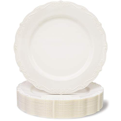 Juvale 25-Pack Elegant Vintage Plastic Dinner Plates for Birthday, Bridal Shower, and Wedding Party Supplies, Cream with Fine Detailing, 10 Inches