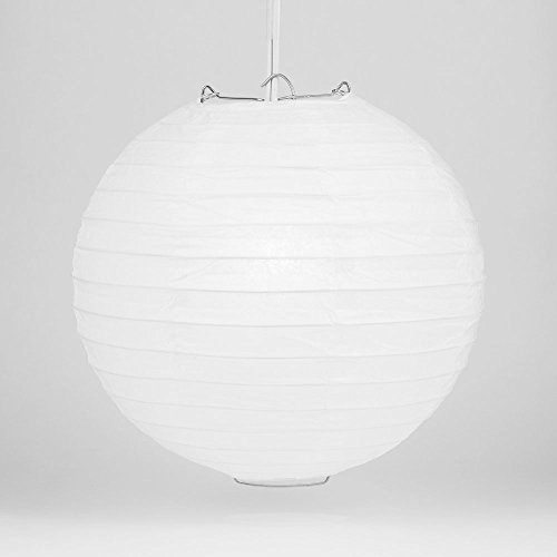 PaperLanternStorecom-BULK-CASE-30-White-Round-Paper-Lantern-Hanging-Decorations-Even-Ribbing-Hanging-Decoration-6-PACK