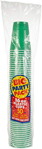 Big Party Pack Festive Green Plastic Cups | 16 oz.| Pack of