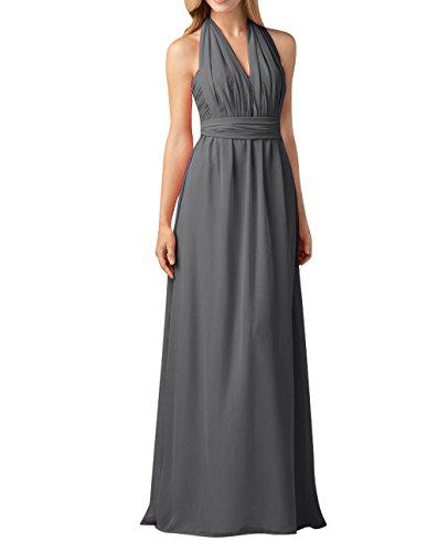 Partykleider Langes Einfach Grau Festlichkleider Brautjungfernkleider Abendkleider mia Linie Chiffon Rock Dunkel La Brau A Y1qwRHY6