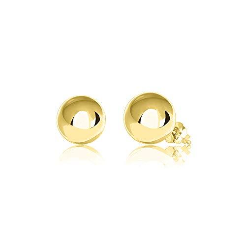 Verona Jewelers Womens 14K Gold Ball Earrings, Post Ball Stud Earrings- Bead Ball Stud Earrings for Women 3MM - 8MM (14K Yellow Gold, 8)