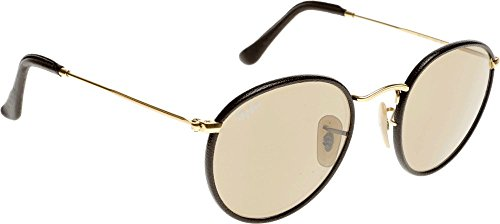 Gradient Ban 50 Gold Arista Round Ray Leather Brown Sunglasses Brown Pzw4xgq