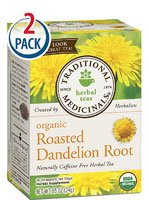 Traditional Medicinals Organic Roasted Dandelion Root Herbal Tea -- 16 Tea Bags Each / Pack of 2 (Hot Water Bottle Made In England)