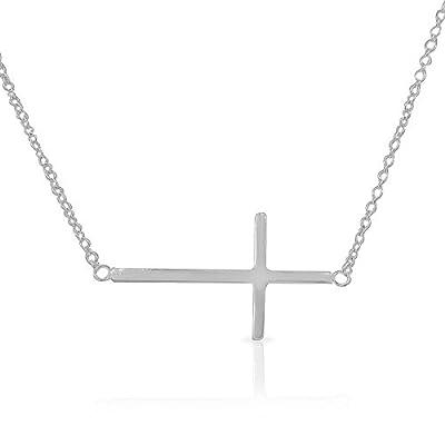 925 Sterling Silver Sideways Horizontal Cross Pendant Necklace