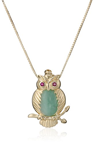18k Yellow Gold Over Sterling Silver Green Jade and Ruby Eyes Owl Pendant Necklace, 18