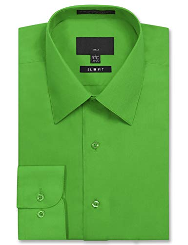 JD Apparel Men's Long Sleeve Slim Fit Solid Dress Shirt 16-16.5 N : 32-33 S Green
