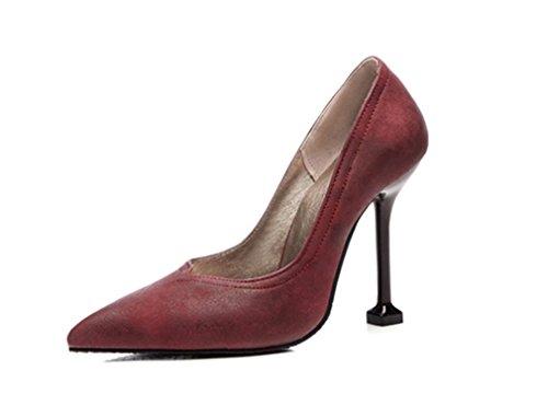 Mujer Los 4 La De Clover Lucky Boda a Tacones a Sandalias Fiesta Punta Colores 3 Temporada Alto Pies Sexy Red Nupcial Zapatos Corte Tacón XxZnvxwT