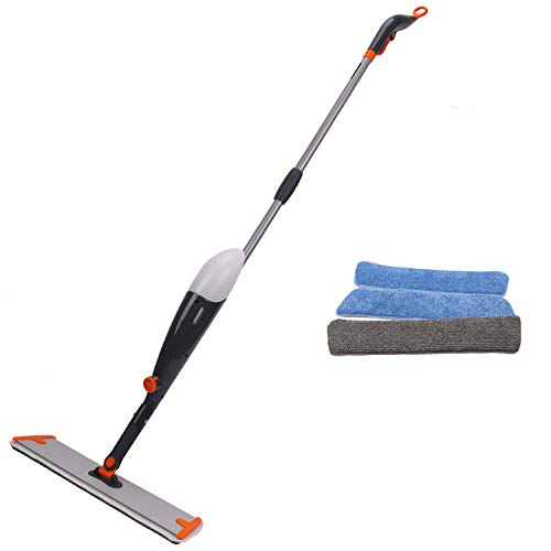 - Spray Mop, Floor Mop and Microfiber Mop with Integrated Spray and 360 Degree Rotation,3 Reuseable Mop Pad include,Easy to Clean Dry/Wet Mop for Hardwood Floor, Wood, Laminate, Tile