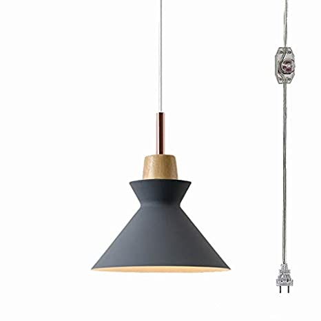 Anye 15ft Ul Transparent Plug In Cord Dark Grey Lamp Shade With On