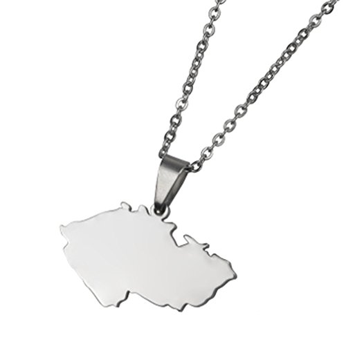 - AccessCube Unisex Country Map Flag Pendant Necklace Gold Silver Color Charm Maps Jewelry (Czech Republic/Silver)