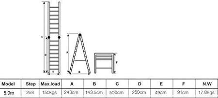 WORHAN/® 5m TELESKOPLEITER 2 in 1 ANLEGELEITER KLAPPLEITER ALU TELESKOP LEITER MULTIFUNKTTIONS LEITER 500cm K5A+bag