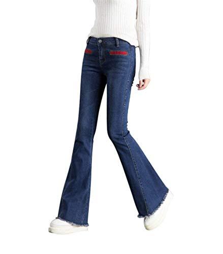 Unique Dunkelblau Donna Da Stlie Pantaloni Moda Alta Vita Jean Slim A Svasati Vintage Alla x8AnOS
