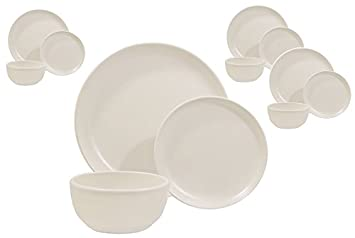 Matte White 12 Piece Dinnerware Set Made 100% in USA  sc 1 st  Amazon.com : made in the usa dinnerware - pezcame.com
