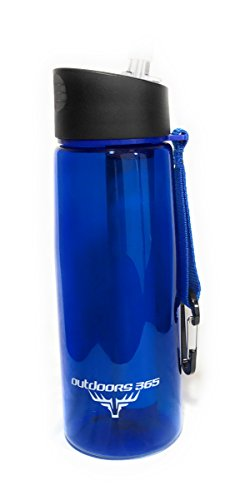 Outdoors365 Travel Water Filter Bottle & Built-In Compass | Portable 2-Stage Drinking Water Purification System | Removes 99.99% Of Harmful Bacteria | Leakproof Reusable Survival Straw Tumbler | Blue