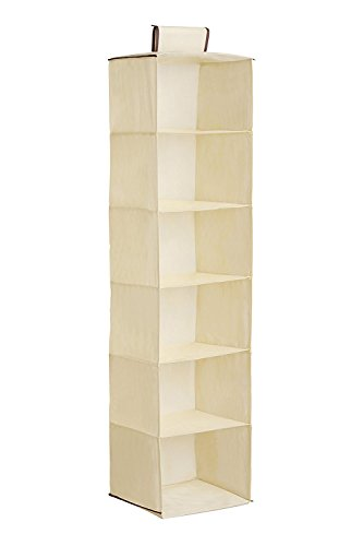 Xuanang Home Hanging Clothes Storage Box, 6 Shelf Hanging Wardrobe Storage Unit Sweater Organiser - Keep Your Wardrobe Clean (Beige) by Xuanang