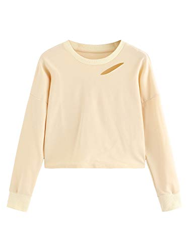 (SweatyRocks Women's Long Sleeve Crop T-Shirt Distressed Ripped Cut Out Tee Tops (X-Large, Apricot))