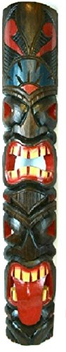 40 In Tribal Polynesian Tiki Bar Mask Hand Carved Island tropical Decor with 2 Face Design ()
