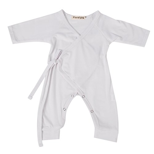 FansIn Newborn Baby Boys Girls Long Sleeve One Piece Layette Romper Back with Angel Wing (0-6M, white) (Layette White)