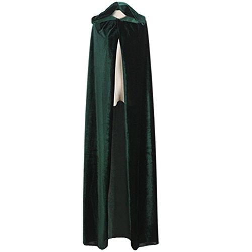 Unisex Witch Cloak with Large Hood Halloween Cloak Princess Ghost Renaissance Costume Cape (Adult-L, Green)