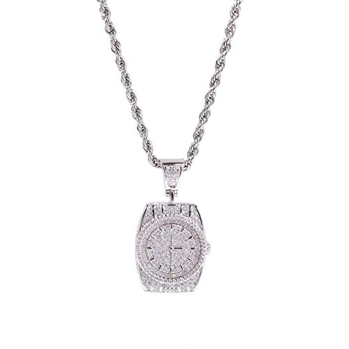 Dial Pendant Necklace Gold Plated Copper Inlaid Cubic Zirconia Dial Pendant 60cm Chain Unisex Accessories (Silver)