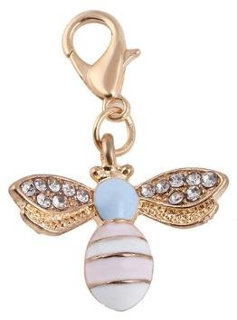 (Precious Pastel & Gold Color Bee Charm with Rhinestones - Also for DIY Arts & Craft Charm, Pendant, Zipper, Backpack, Keychain, Unique, Gift, KandyCharmz 261)