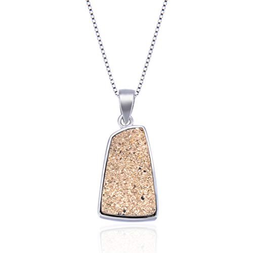 WANZIJING Druzy Pendant, S925 Sterling Silver Statement Necklace Natural Druzy Choker with 925 Sterling Silver Chain,16''