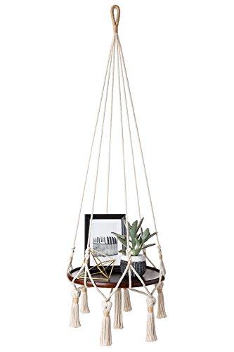 Mkono Hanging Shelf Macrame Plant Hanger Flower Pot Holder Boho Home Decor (with Wood Plate)