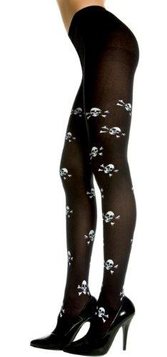 Music Legs Womens Black Gothic Tights with Skull & Cross Bones