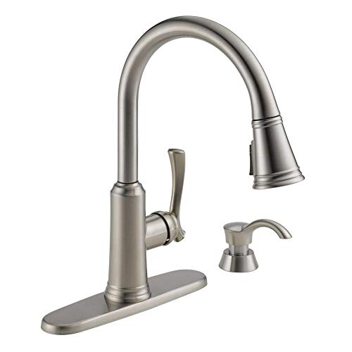 Lakeview Single-Handle Pull-Down Sprayer Kitchen Faucet with ShieldSpray Technology and Soap Dispenser in Stainless - Delta 19963Z-SSSD-DST