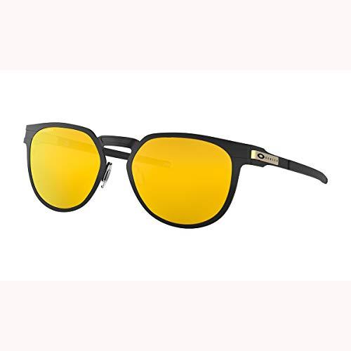 Oakley OO4137 Diecutter Round Metal Sunglasses, Satin Black/24K Iridium, 55 mm (Weißen Rahmen Oakley Sonnenbrille)