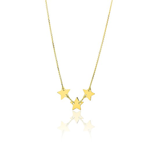 14k Yellow Gold Thin Dainty Necklace with Small Adjustable Star Charm, 18 Inch (17