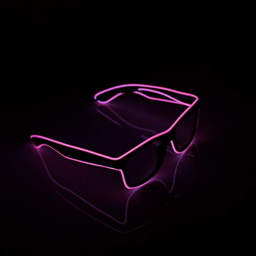 XSC EL Wire Light Up Eye Glasses Neon Glowing Sunglasses for Costume Party, Halloween, Christmas (Pink)