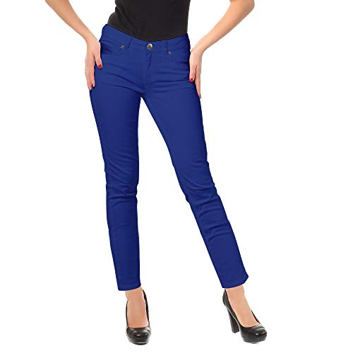Zac & Rachel Women's Low Rise Slim Stretch Comfy Jeans All Day Casual Dress Pants with Classic Zip Front, Five Pockets (Soda Light, 14) ()
