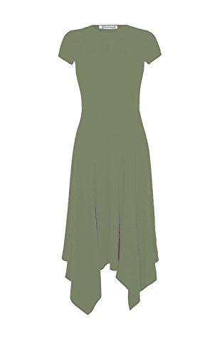 Nouvelles Femmes Manches Courtes Ourlet Long Uni Hanky évasé Robe D'été Swing Midi Top Kaki