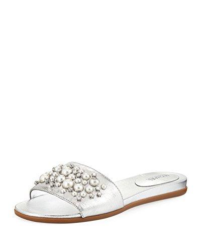 MICHAEL Michael Kors Women's Gia Embellished Slide Sandals (6.5 B (M) US, Silver)