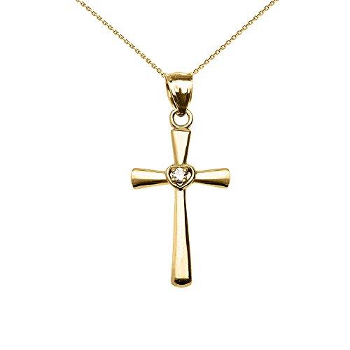 Collier Femme Pendentif 14 Ct Or Jaune Solitaire Oxyde De Zirconium Cœur Croix (Livré avec une 45cm Chaîne)