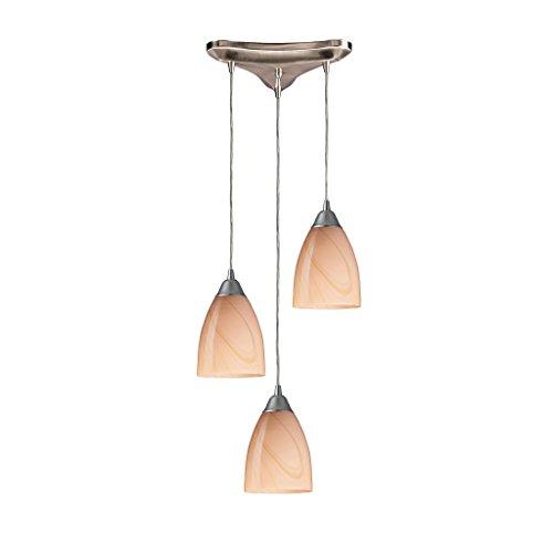 Pierra 3 Light Pendant - 3 Light Pendant In Satin Nickel And Sandy Glass