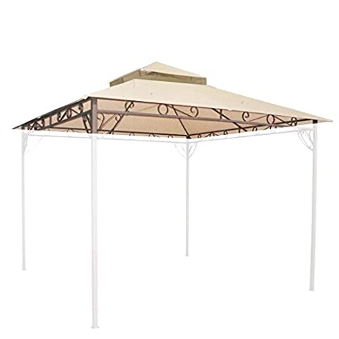 10'x10' Waterproof Gazebo Top 2 Tier Replacement UV30+ Outdoor Yard Canopy Cover (Houston Crib)